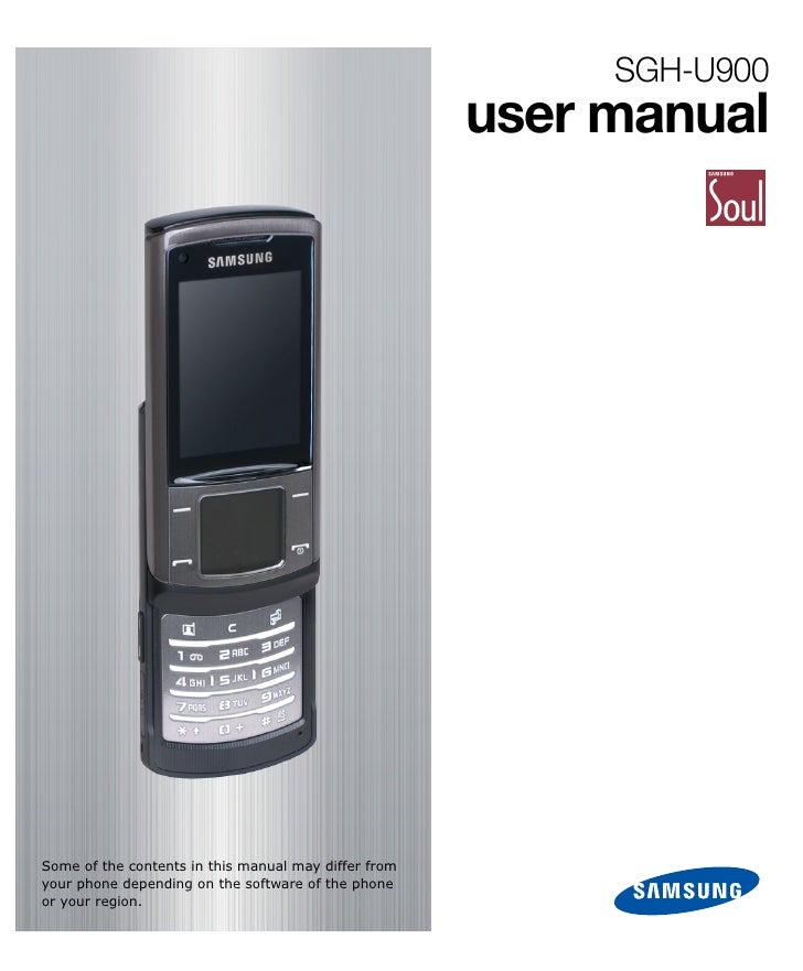 SGH-U900                                                       user manual     Some of the contents in this manual may dif...