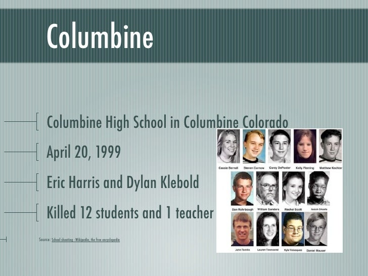 essay on columbine high school Columbine high school shootings, massacre that occurred on april 20, 1999, at columbine high school in littleton, colorado, leaving 15 dead, including the two students responsible for the attack it was one of the deadliest school shooting incidents in american history the shootings were carried.