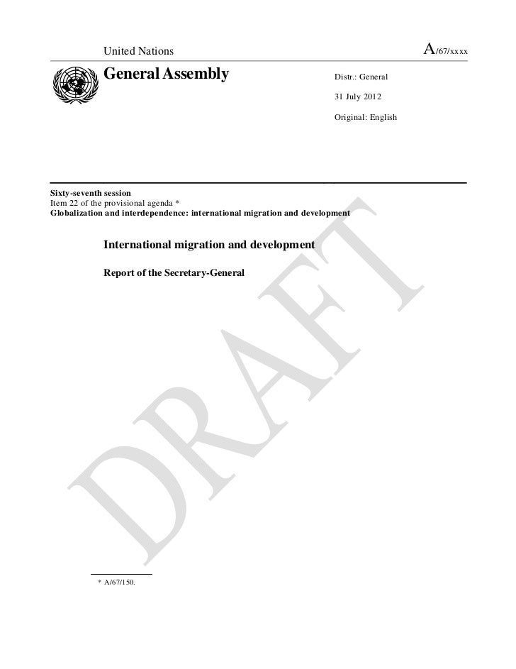 Advance unedited version of UN Secretary-General Report on International Migration and Development