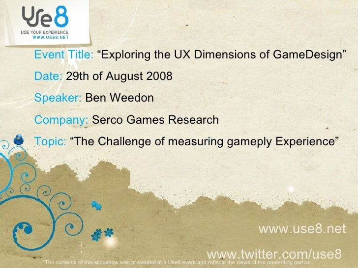 Serco Usability Research, Ben Weedon, The challenge of measuring game play experience