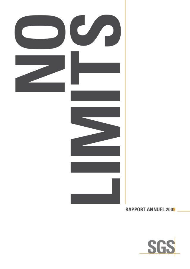 RAPPORT ANNUEL 2009 NO LIMITS