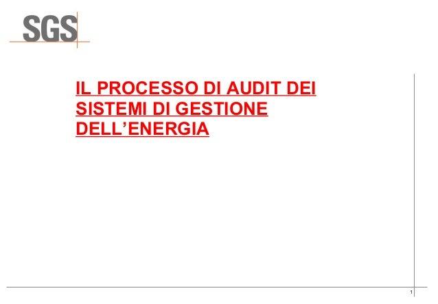 IL PROCESSO DI AUDIT DEISISTEMI DI GESTIONEDELL'ENERGIA                           1