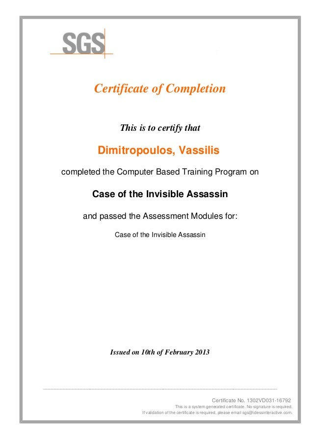 Certificate of Completion                          This is to certify that                  Dimitropoulos, Vassilis      c...
