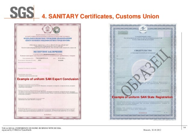 What is Sanitary Certificate definition and meaning