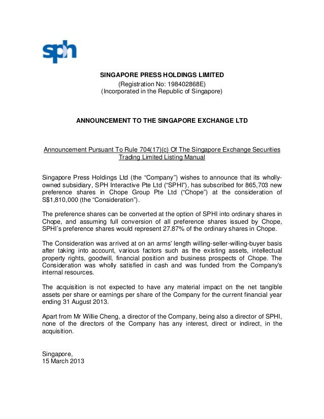 SINGAPORE PRESS HOLDINGS LIMITED                          (Registration No: 198402868E)                    (Incorporated i...