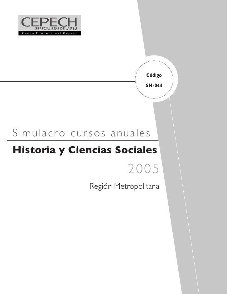 Código                                SH-044     Simulacr o cur sos anua les Historia y Ciencias Sociales                 ...