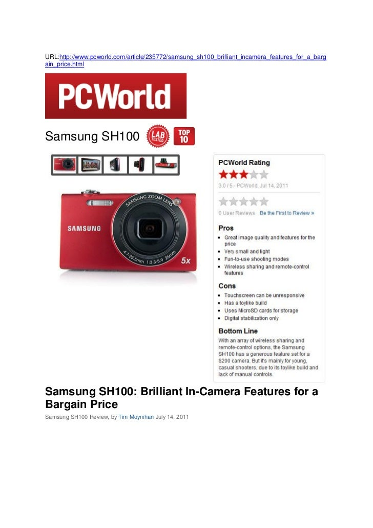 Samsung SH100: Brilliant In-Camera Features for a Bargain Price (PCWorld)