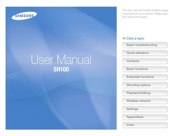 Samsung Digital Camera SH100 User Manual