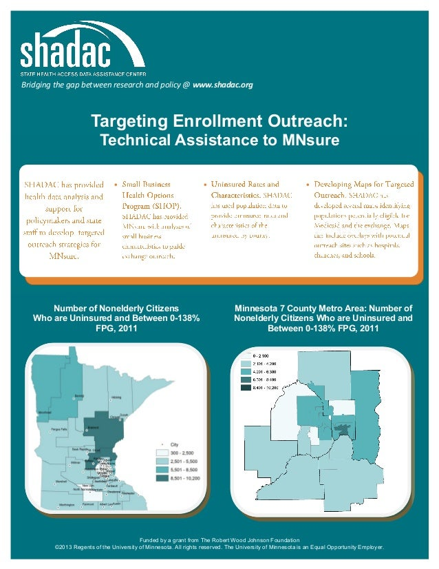 Bridging the gap between research and policy @ www.shadac.org  Targeting Enrollment Outreach: Technical Assistance to MNsu...