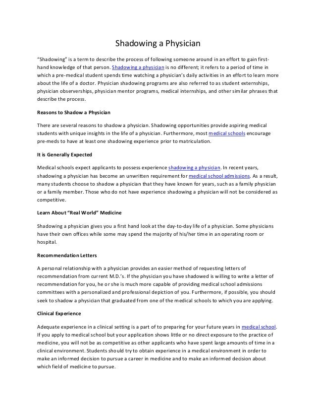 Shadowing a physician essay format