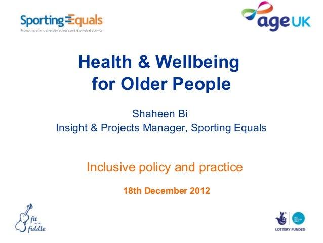 Shaheen Bi - Health and Wellbeing workshop
