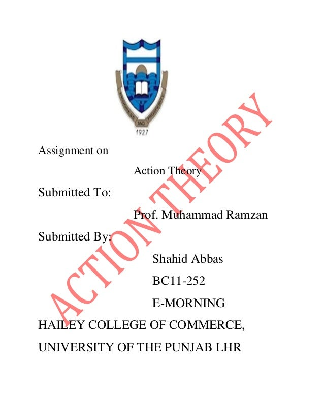 Assignment on Action Theory  Submitted To: Prof. Muhammad Ramzan Submitted By: Shahid Abbas BC11-252 E-MORNING HAILEY COLL...