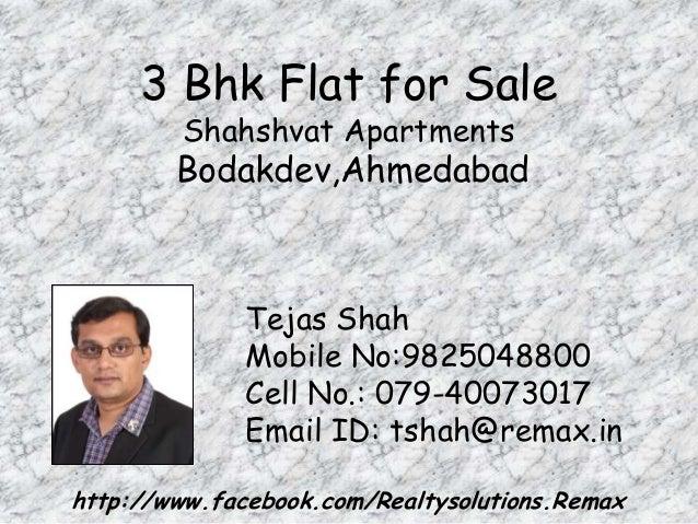3 Bhk Flat for Sale  Shahshvat Apartments  Bodakdev,Ahmedabad