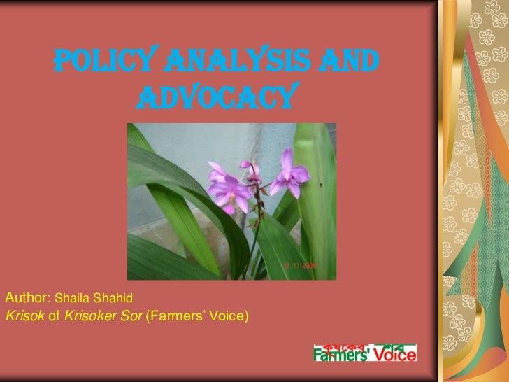 Shaila.policyanalysis advocacy