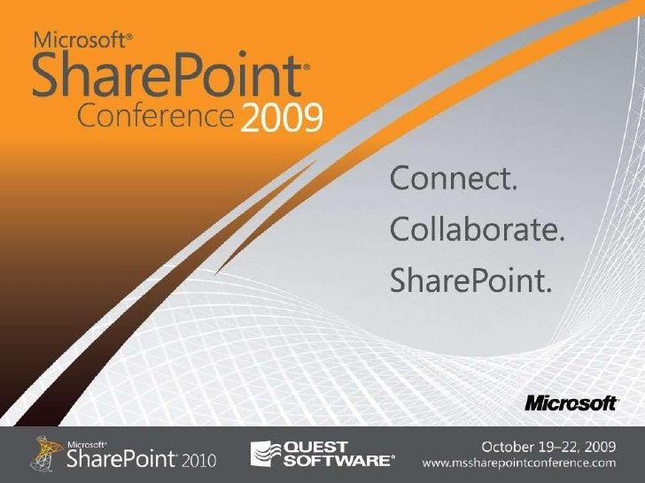 Upgrade to SharePoint 2010, Shai Petel SharePoint Conference Las Vegas Sep 2009