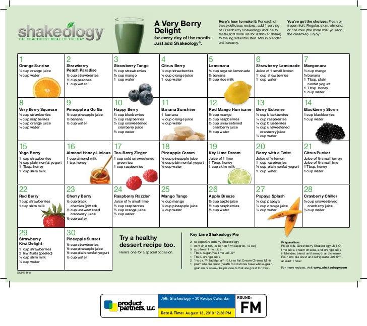 Shakeology Calendar 30 days