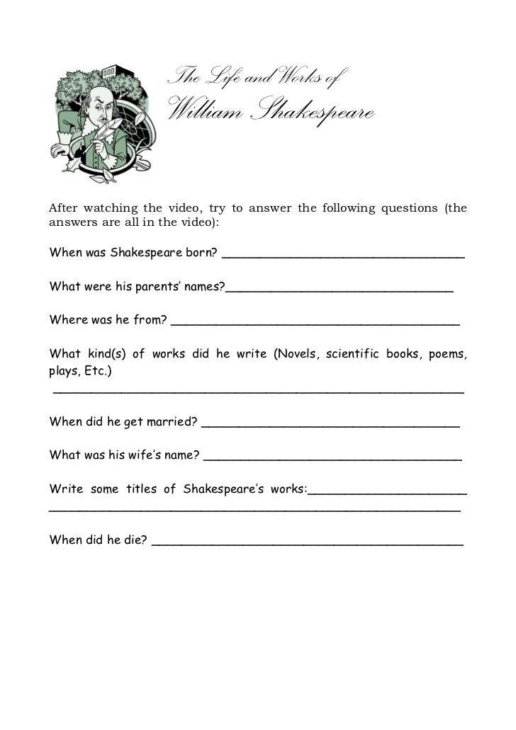 The Life and Works of                   William ShakespeareAfter watching the video, try to answer the following questions...