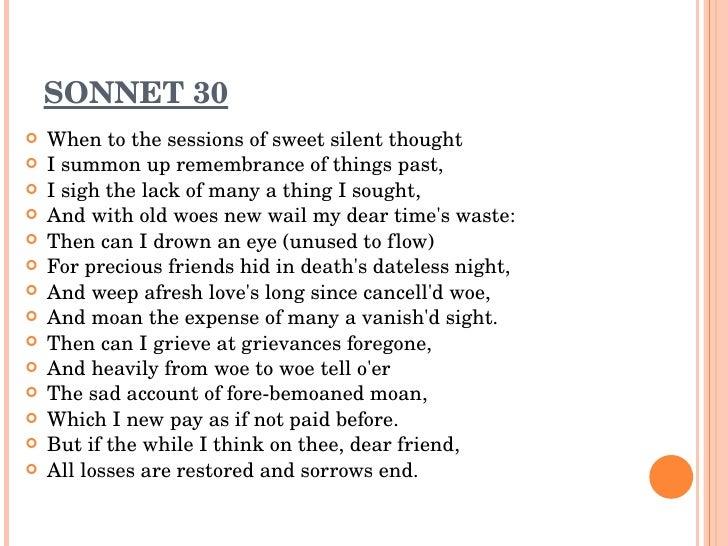 sonnet 30 analysis