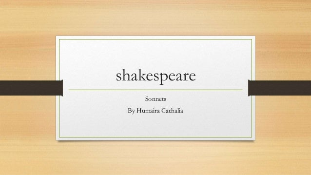 shakespeare Sonnets By Humaira Cachalia