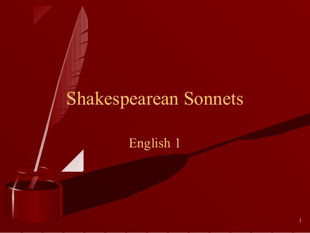 Shakespearean Sonnets English 1  1