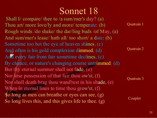 essay on sonnet 18 Sonnet 18 is perhaps the best known of all sonnets shakespeare wrote 154 of them but this one tends to top most popular lists, mainly due to the opening line which every romantic knows off by heart but there is much more to this line than meets the eye, as you'll find out later in the analysis and please.