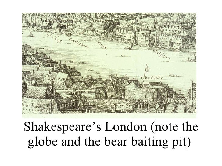 Shakespeare's London (note the globe and the bear baiting pit)