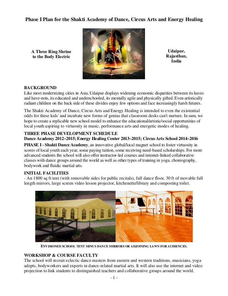 Phase I Plan for the Shakti Academy of Dance, Circus Arts and Energy Healing    A Three Ring Shrine                       ...