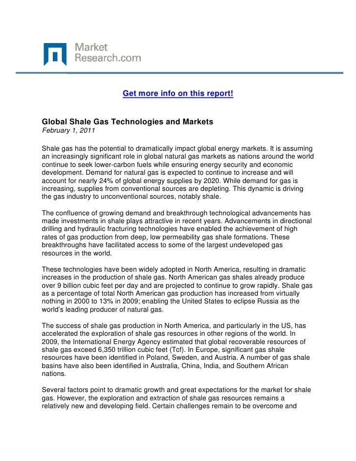 Global Shale Gas Technologies and Markets