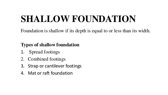 Shallow foundation for What types of foundations are there