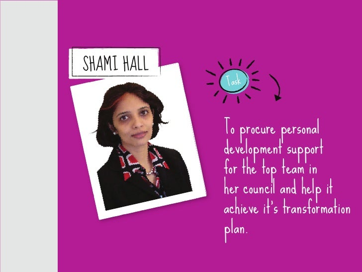 SHAMI HALL              Task                 To procure personal              development support              for the top...