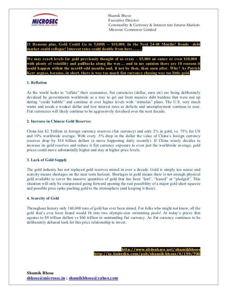 Shamik Gold Standard & Reasons 2011 Sept
