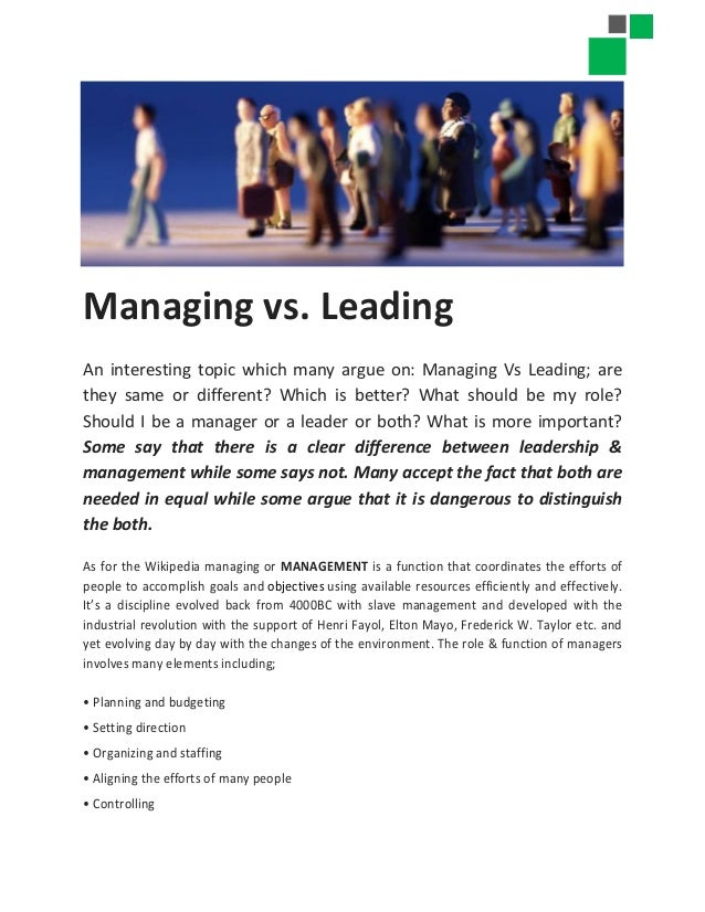 leadership versus management how they are different and why pdf