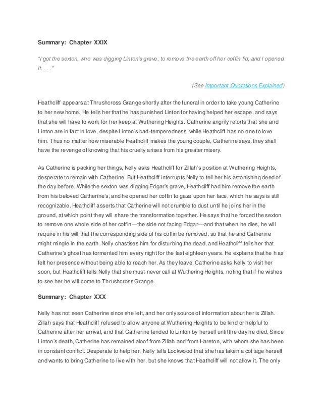 wuthering heights summary essay Free essays and term papers on free essays on wuthering heights chapter 19 over half a million essays submitted by students from around the world.