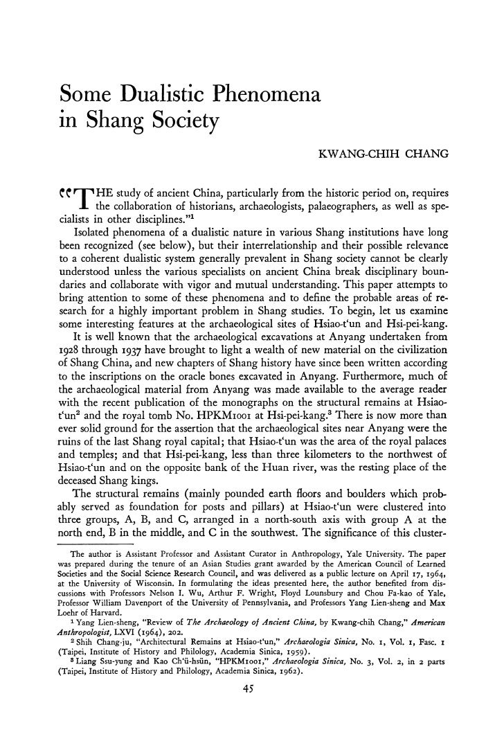 Some Dualistic Phenomena in Shang Society                                                                        KWANG-CHI...