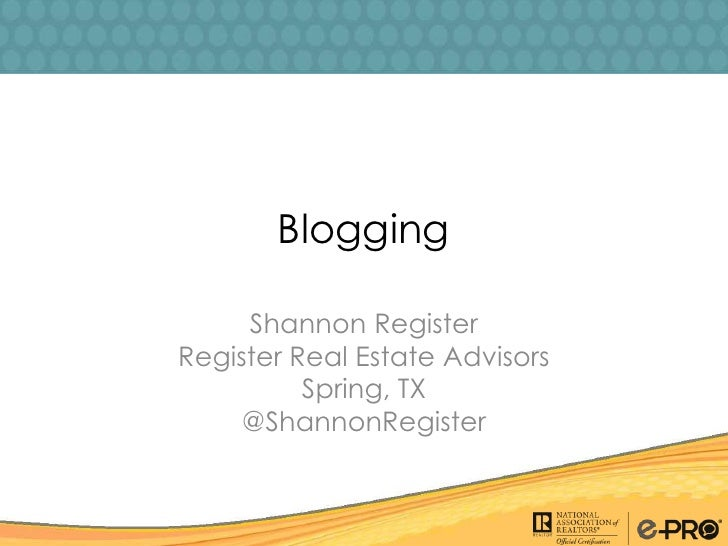 NAR Tech Edge - Las Vegas - Blogging - Shannon Register