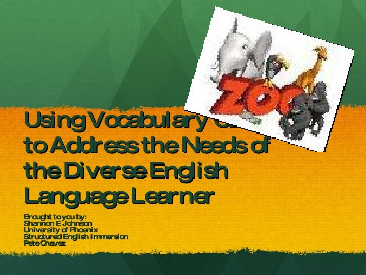 Using Vocabulary Games to Address the Needs of the Diverse English Language Learner Brought to you by: Shannon E Johnson U...