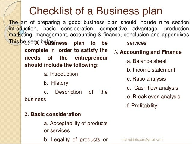 Checklist for business plan