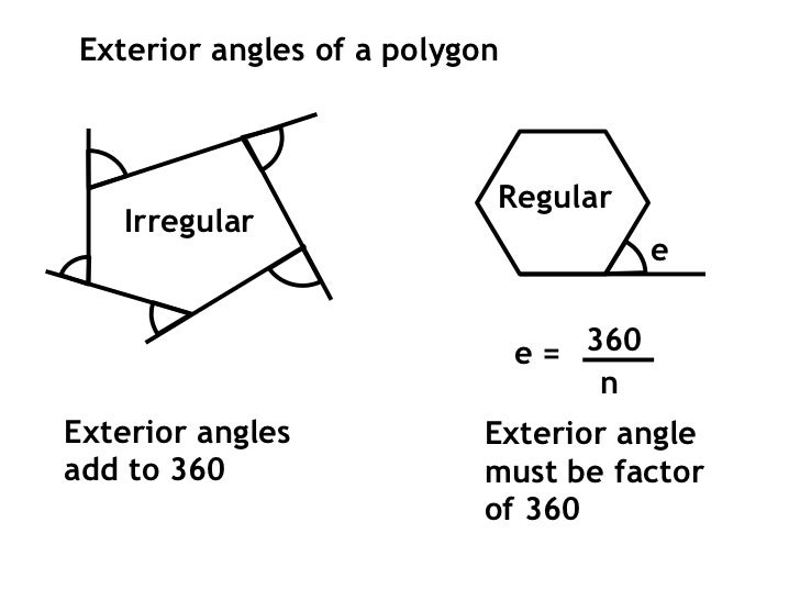 Shape angle revision hints for Exterior angle of a regular octagon