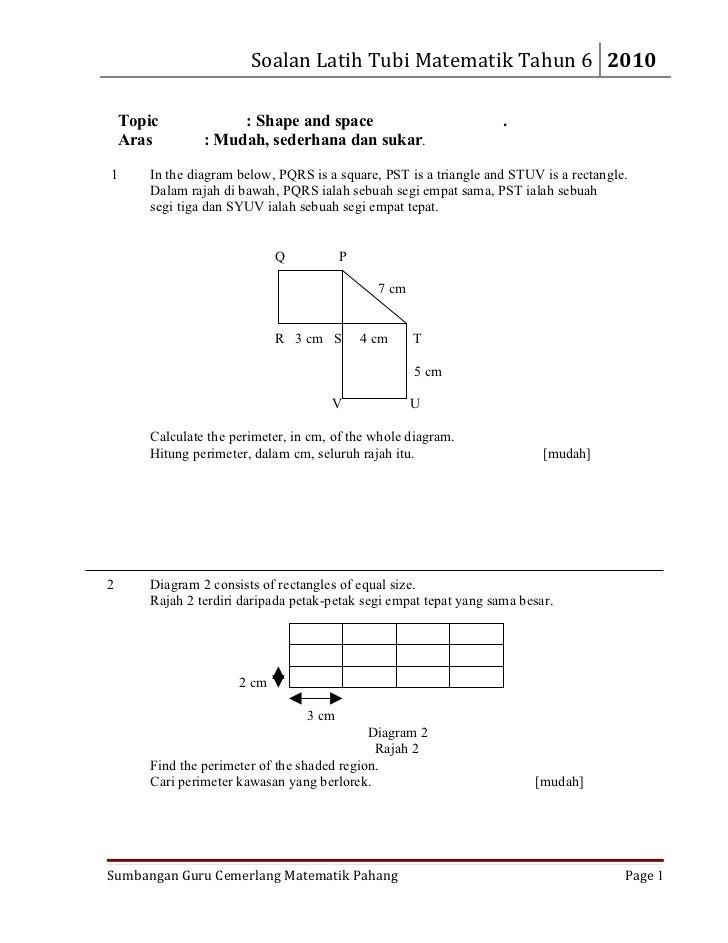 Soalan Matematik Ruang Tahun 6 Zkebaya