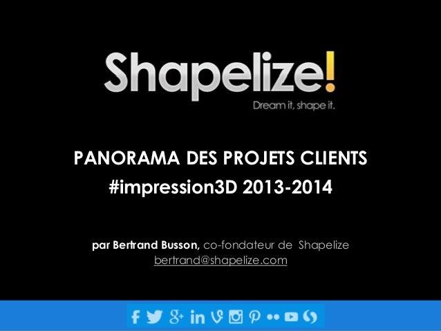 PANORAMA DES PROJETS CLIENTS #impression3D 2013-2014 par Bertrand Busson, co-fondateur de Shapelize bertrand@shapelize.com