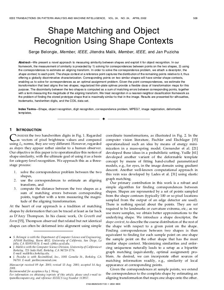 Shape matching and object recognition using shape context belongie pami02