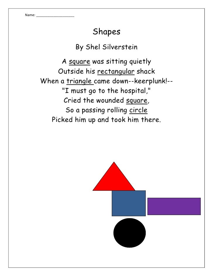 Shapes<br />By Shel Silverstein<br />A square was sitting quietly                                                         ...