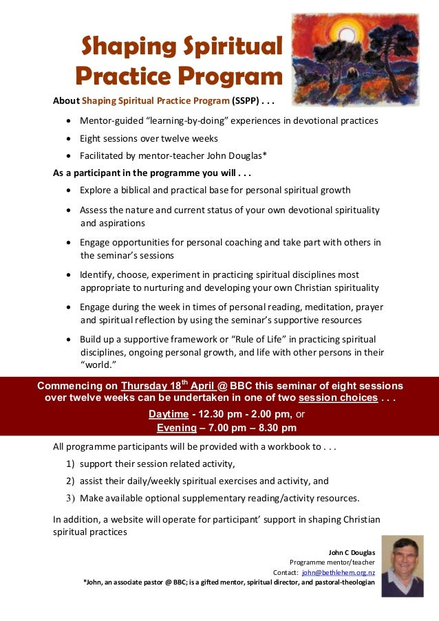 "Shaping Spiritual        Practice Program   About Shaping Spiritual Practice Program (SSPP) . . .       Mentor-guided ""le..."