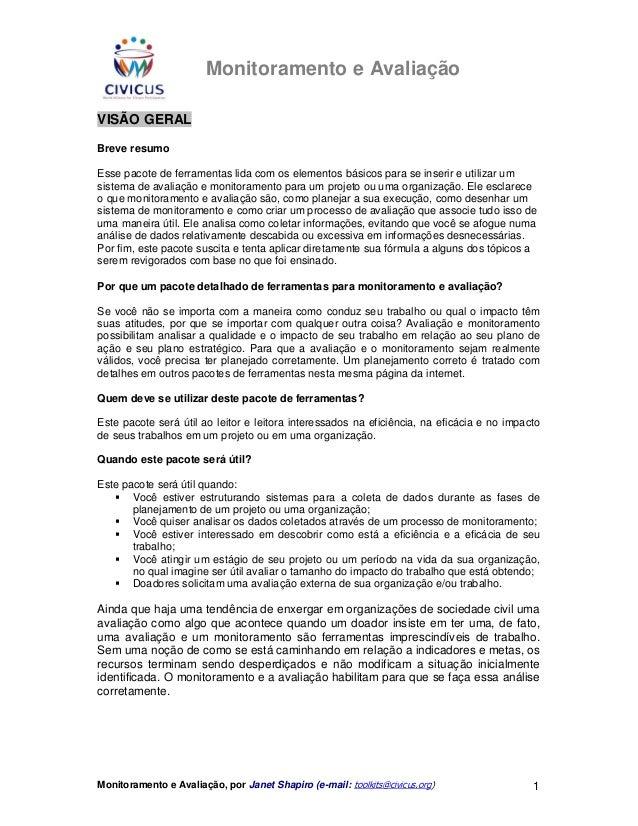 Shapiro, janet. monitoramento e avaliacao   ler apenas das pág. 01 a 07