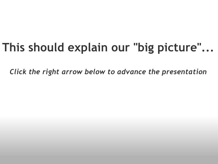 """This should explain our """"big picture""""... Click the right arrow below to advance the presentation"""