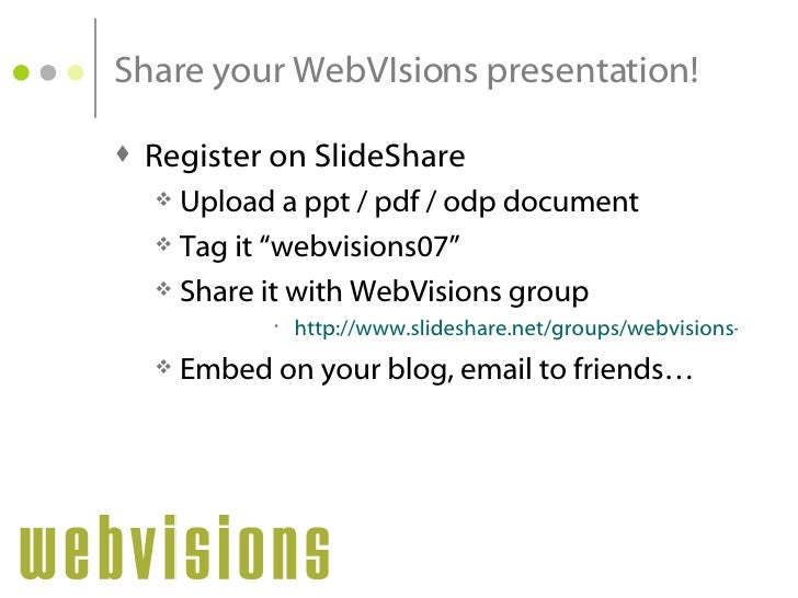 Share your WebVisions presentation