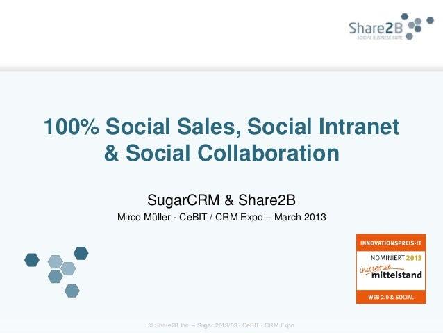 100% Social Sales, Social Intranet     & Social Collaboration             SugarCRM & Share2B       Mirco Müller - CeBIT / ...