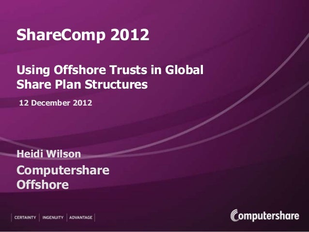ShareComp 2012Using Offshore Trusts in GlobalShare Plan Structures12 December 2012Heidi WilsonComputershareOffshore