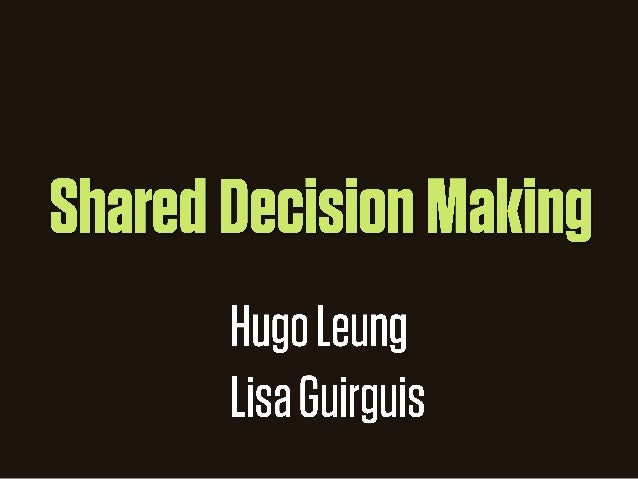 Shared Decision Making - for pharmacists
