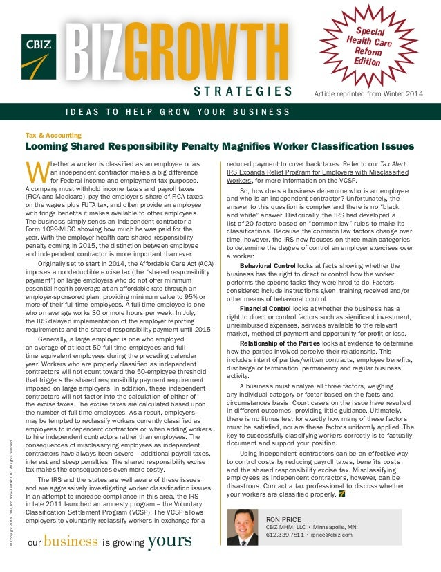 Looming Shared Responsibility Penalty Magnifies Worker Classification Issues